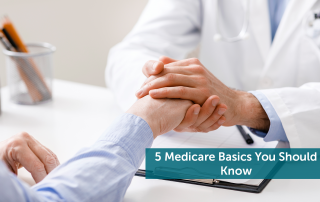 Doctor going over Medicare basics in office while holding his hand.